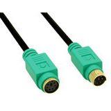 (€2,45*/1m) 2.00m InLine PS/2 Anschlusskabel Stecker auf Buchse Schwarz vergoldet / grüne Stecker
