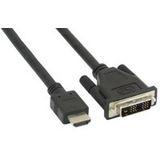 (€1,98*/1m) 5.00m InLine HDMI Adapterkabel HDMI-Stecker auf DVI 18+1 Stecker Schwarz