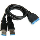 BitFenix Internal USB 3.0 20-pin auf 2x USB 3.0 Adapter für USB Geräte (BFA-U3-KU3MIU3M-RP)