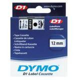 Dymo Schriftband B.12mm/L.7m schwarz auf weiß