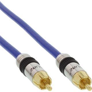 (€15,80*/1m) 0.50m InLine Audio Anschlusskabel Premium-Line Cinch Stecker auf Cinch Stecker Blau vergoldet