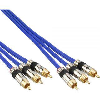 (€14,90*/1m) 1.00m InLine Audio/Video Anschlusskabel Premium-Line 3xCinch Stecker auf 3xCinch Stecker Blau vergoldet