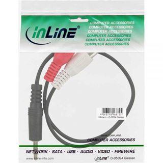 (€19,50*/1m) 0.20m InLine Audio Adapterkabel 3.5mm Klinke Stecker Stereo auf 2xCinch Buchse Schwarz