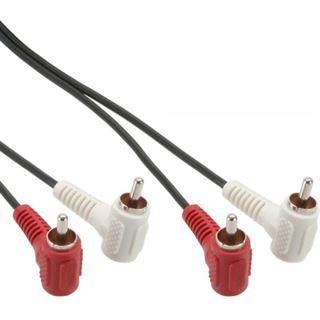 (€3,25*/1m) 1.20m InLine Audio Verbindungskabel 2xCinch Stecker auf 2xCinch Stecker Schwarz gewinkelt