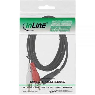 (€1,95*/1m) 2.00m InLine Audio Verbindungskabel 2xCinch Stecker auf 3.5mm Klinken-Stecker Schwarz