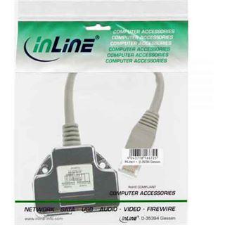 InLine Cat. 5e Adapter Power Frame Cover RJ45 Buchse auf 2xRJ45 Buchse Silber
