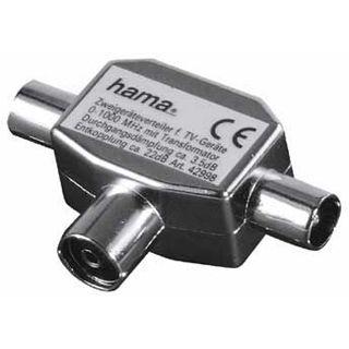 () 0.00m Hama Koaxial Antennenverteiler Koax Buchse auf 2 Koax Stecker Silber