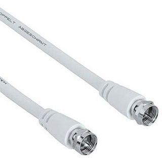 (€1,86*/1m) 10.00m Hama Antenne Anschlusskabel F-Stecker auf F-Stecker Weiß doppelt geschirmt