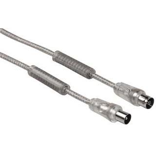 (€3,58*/1m) 5.00m Hama Antenne Anschlusskabel Koax Stecker auf Koax Buchse Silber doppelt geschirmt