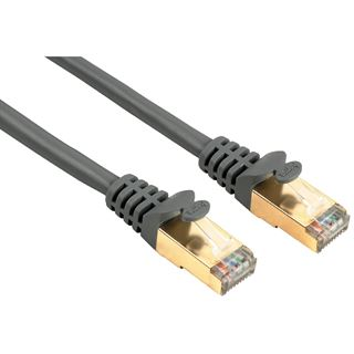 (€15,80*/1m) 0.50m Hama Cat. 5e Patchkabel S/UTP RJ45 Stecker auf RJ45 Stecker Grau vergoldet