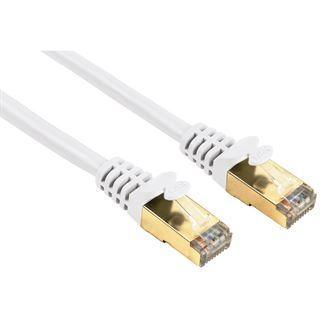 5.00m Hama Cat. 5e Patchkabel S/UTP RJ45 Stecker auf RJ45 Stecker Weiß vergoldet
