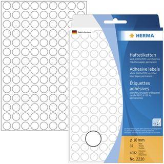Herma 2220 rund Vielzwecketiketten 1x1 cm (32 Blatt (4032 Etiketten))