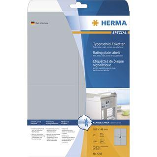 Herma 4216 silber extrem stark haftend Typenschild-Etiketten 10x14.9 cm (25 Blatt (100 Etiketten))