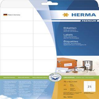 Herma 5054 Premium Universal-Etiketten 7.0x4.23 cm (25 Blatt (525 Etiketten))