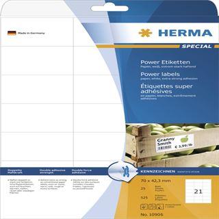 Herma 10906 stark haftend Universal-Etiketten 7.0x4.23 cm (25 Blatt (525 Etiketten))